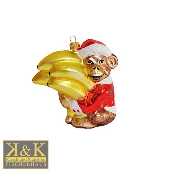 Weihnachtsaffe mit Bananen