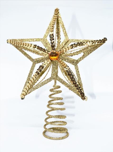 Christbaumspitz Stern gold-orange