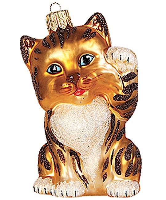 Katze Tiger winkend